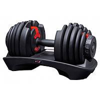 Гантель наборная регулируемая от 2,5 кг до 24 кг VNK 1 шт черная с красным, фото 1