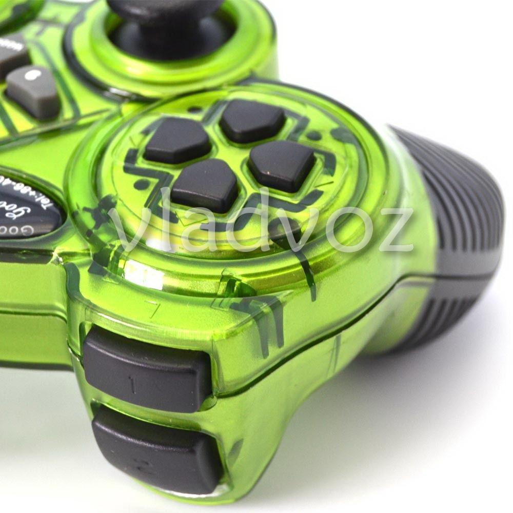 джойстик для пк геймпад 998 зелёный вид сзади