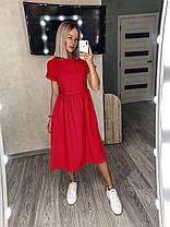 Літня сукня вільного крою міді з короткими рукавами софт, фото 2