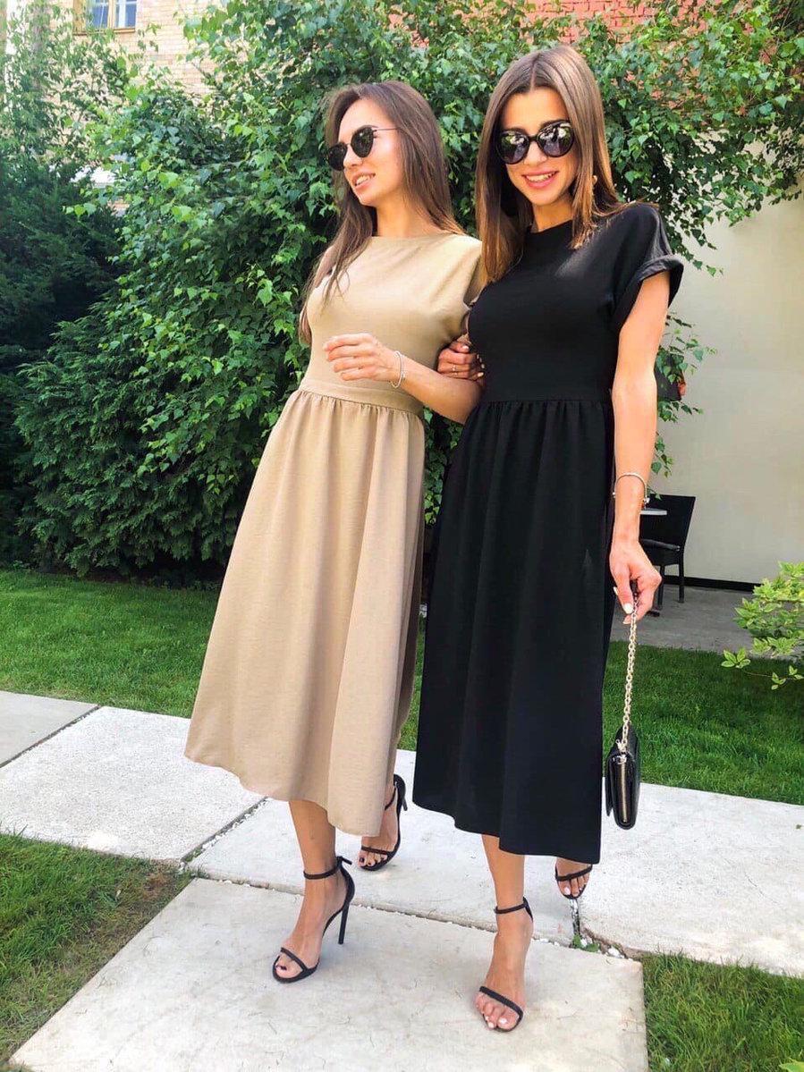 Літня сукня вільного крою міді з короткими рукавами софт