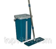 Швабра з відром з віджимом Scratch Mop Синьо-Сіре 39х23х19 см, плоска швабра з відром   швабра с отжимом