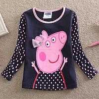 Кофточка детская  Peppa pig (м/ф Свинка Пеппа)для девочки/хлопок/длинный рукав/ 1,5-2 года (18-24 мес) 92см