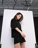 Летний комплект футболка и шорты женский черный оверсайз модель Ронни от бренда Тур, размеры: S, M, L