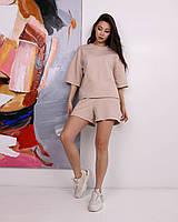 Летний комплект футболка и шорты женский бежевый оверсайз модель Ронни от бренда Тур, размеры: S, M, L