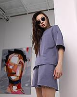 Летний комплект футболка и шорты женский серый оверсайз модель Ронни от бренда Тур, размеры: S, M, L