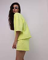 Летний комплект футболка и шорты женский желтый оверсайз модель Ронни от бренда Тур, размеры: S, M, L