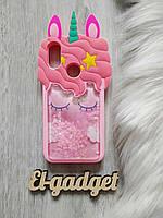 Чехол для Xiaomi Mi A2 Lite Единорог розовый с блестками