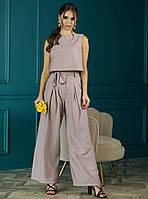 Женский льняной костюм с топом и широкими брюками