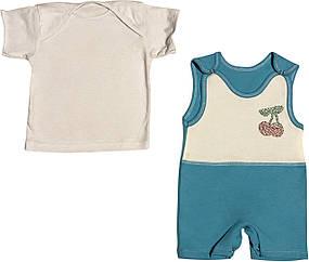 Літній костюм на дівчинку ріст 68 3-6 міс для новонароджених малюків комплект дитячий трикотаж літо бірюзовий