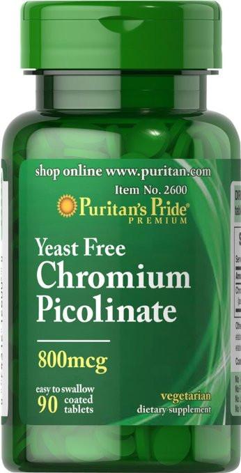 Пиколинат хрома Chromium Picolinate 800 mcg Yeast Free 90 таблеток