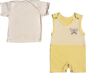 Летний костюм на девочку рост 74 6-9 мес для новорожденных малышей комплект детский трикотажный лето жёлтый