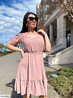 Женское короткое платье с резинкой на талии и расклешкнной юбкой р-ры 42-48 арт.  ак 048