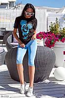 Красивый женский летний костюм футболка и шорты яркий и удобный арт 695