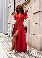 Ефектне довге жіноче плаття в підлогу на запах з розрізом розмір 42-46 арт. 876