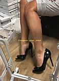 Чорні лакові туфлі жіночі літні, фото 4