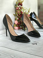 Черные лаковые кожанные туфли женские, фото 1