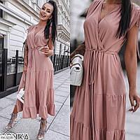 Красиве довге жіноче плаття максі розкльошені від талії з декольте р-ри 42-48 арт 9067