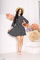 Короткое летнее платье в горошек клеш от талии с резинкой на поясе р-ры 42-48 арт.  1057