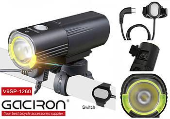 Велосипедная фара GACIRON V9SP-1260+Пульт+Power Bank (1260LM, 4500mAh, Luminus LED,1*26650, USB, IPX6)+ПОДАРОК