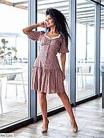 Летнее прогулочное платье короткое спереди на пуговицах юбка трапеция с воланом р-ры 42-48 арт. 17138