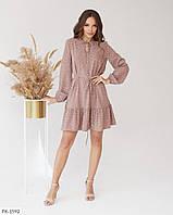 Літній стильне плаття вільного крою коротке з поясом а-силуету р-ри 42-48 арт. 5205