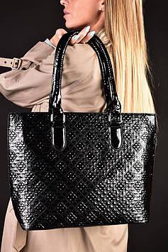 Женская вместительная черная лаковая сумка код 7-893