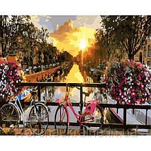GX21031 Закат на улочке Амстердама. Brushme. Картина по номерам
