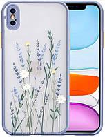 Силиконовый ударопрочный чехол для iPhone XS с цветочным принтом Lavender (8CASE)