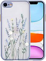 Силиконовый ударопрочный чехол для iPhone SE 2 с цветочным принтом Lavender (8CASE)