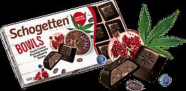 Немецкий черный шоколад Schogetten Bowls с какао, гранатом, черникой и коноплей 100 грамм