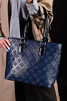 Женская вместительная синяя лаковая сумка код 7-893