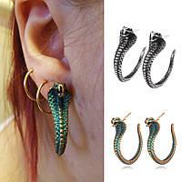 Стильні Сережки гвоздики Кобра Біжутерія у вигляді змії на Хеллоуїн, фото 1