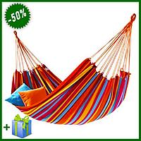 Гамак для отдыха из хлопка подвесной 200x80 см, туристический тканевый гамак для активного отдыха
