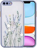 Силиконовый ударопрочный чехол для iPhone 7 Plus с цветочным принтом Lavender (8CASE)