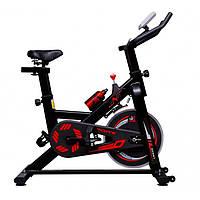 Велотренажер спин байк для дома механический до 150 кг VNK Home Spin Bike черный с красным