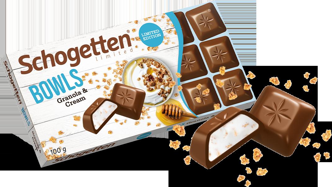 Молочний шоколад Schogetten Bowls з начинкою з йогурту і гранолы 100 грам