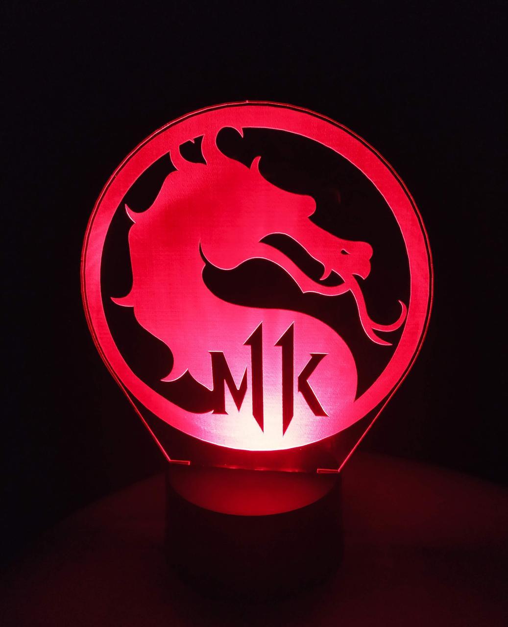 3d-світильник Мортал Комбат Mortal Kombat, 3д-нічник, кілька підсвічувань (батарейка+220В)