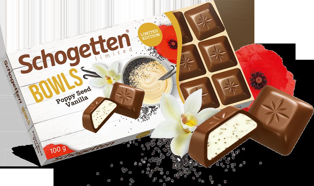 Молочный шоколад Schogetten Bowls с ванильным кремом и маком 100 грамм
