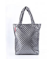 Сумка женская стёганая POOLPARTY Puffy Big Eco Bags Metall тёмно-серая, фото 1