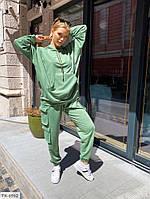 Прогулянковий костюм трійка жіночий вільного крою з топом, худі, штанами карго р-ри 42-48 арт. 2462, фото 1