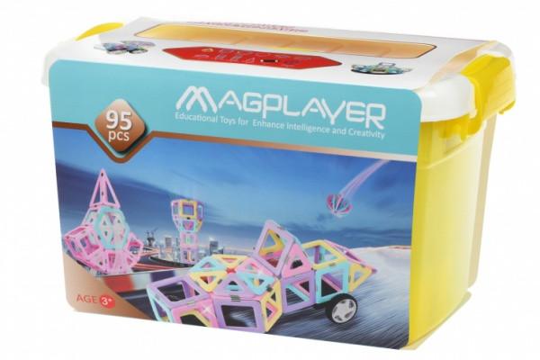 Магнитный конструктор для детей в контейнере, 95 деталей, MagPlayer