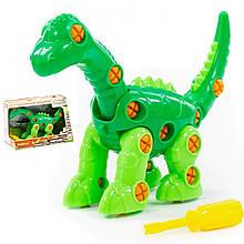 Конструктор для детей с отверткой динозавр Диплодок, 35 элементов, Полесье