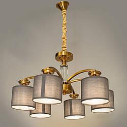 Сучасна люстра з текстильними плафонами на 6 лампочок Діаша колір бронза&2948-6