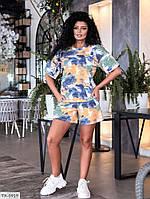 Молодежный красивый женский костюм шорты и футболка из разноцветного трикотажа р-ры 38-40,42-44,46-48 арт 813