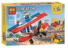 Конструктор для маленьких дітей Bela 3в1 Літак Вертоліт Катер 206 деталей арт.11045