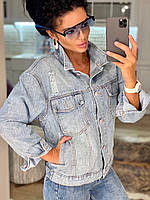 Женская джинсовая куртка джинсовка ветровка голубая 42-44 44-46 46-48 стильная популярная модная летняя