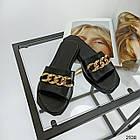Шлепки женские кожаные черные цепи с квадратным носком (36,37,38 размеры), фото 6