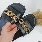 Шлепки женские кожаные черные цепи с квадратным носком (36,37,38 размеры), фото 7
