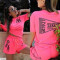 Прогулочный стильный женский костюм шорты и футболка свободного кроя р-ры 42-44,46-48 арт 459