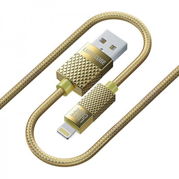 Кабель Luxe Cube Premium USB (папа) = Lightning (папа) 1м, золотистий (8886668686150)